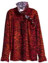 H&M Silk Ruffle-collar Blouse - Dark red/patterned - Ladies