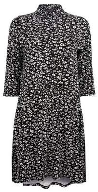 Dorothy Perkins Womens Black And White Floral Print Smock Dress, Black