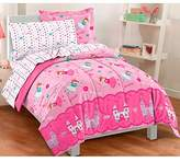 4 Piece Girls Magical Princess Themed Comforter Set Toddler Size, Featuring Girly Cute Flying Fairies, Princesses, Castles, Stars, Reversible Flowers Hearts Stripe, Pop Vibrant Colors Pink Teal Blue