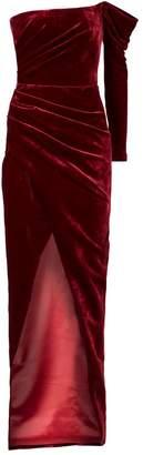 Rasario One-Shoulder Draped Velvet Gown