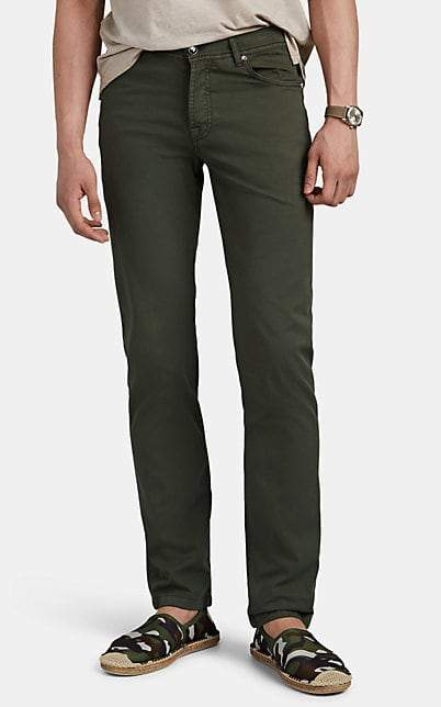 Marco Pescarolo Men's Washed Stretch Cotton-Silk Twill Trousers - Olive