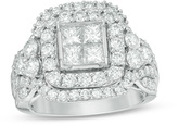 Zales 3 CT. T.W. Quad Princess-Cut Diamond Double Frame Engagement Ring in 14K White Gold