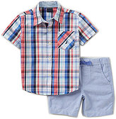 Nautica Little Boys 2T-4T Plaid Woven Short-Sleeve Shirt and Solid Shorts Set