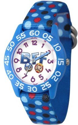 Marvel Emoji Kids' Iron Man and Captain America Blue Plastic Time Teacher Watch, Blue Nylon Strap with Polka Dot Printing