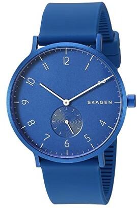 Skagen Aaren Kulor 41mm Three-Hand Silicone Watch (SKW6512 Red Silicone) Watches