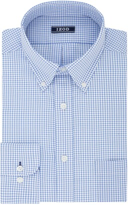 Izod Mens Regular Fit Stretch Button Down Collar Check Dress Shirt