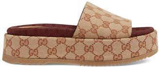 Gucci GG Platform Sandals in Beige | FWRD