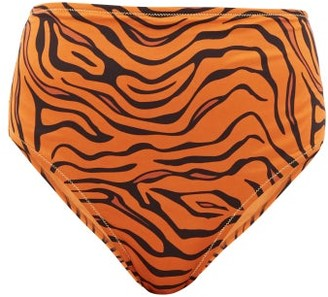 Reina Olga Hutton High-rise Tiger-print Bikini Briefs - Womens - Orange Print