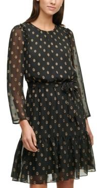 Calvin Klein Printed Smocked-Shoulder Ruffled-Hem Dress