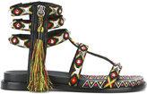 Ash tassel-embellished sandals - women - Cotton/Leather - 36