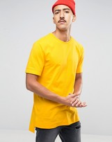 Asos Super Longline T-Shirt With Stepped Hem In Yellow