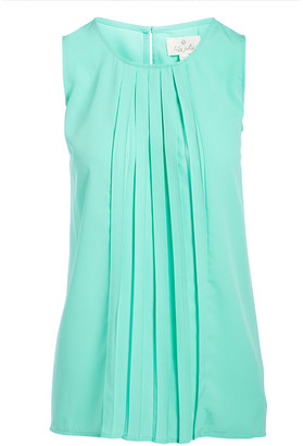 Très Jolie Women's Blouses Aqua - Aqua Pleat-Front Shell - Women