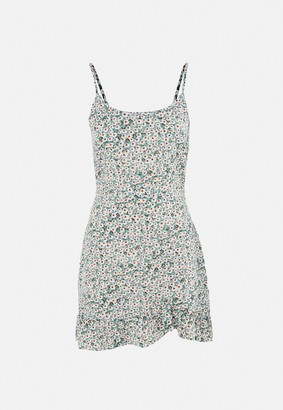 Missguided Sage Floral Ruffle Hem A Line Mini Dress