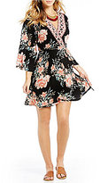 Billabong Divine Floral Printed Bell Sleeve Fit-And-Flare Dress