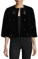 Joie Nayland Open-Front Faux-Fur Jacket w/ Embellishments