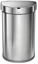 Simplehuman 45 Liter Semi-Round Sensor Can Nano-silver Clear Coat Brushed Stainless Steel + Custom Fit J Code Liner Pack