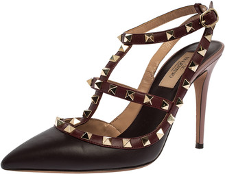 Valentino Burgundy Leather Rockstud Pointed Toe Ankle Strap Sandals Size 38