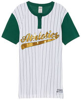 PINK Oakland Athletics Bling Campus Henley Tee