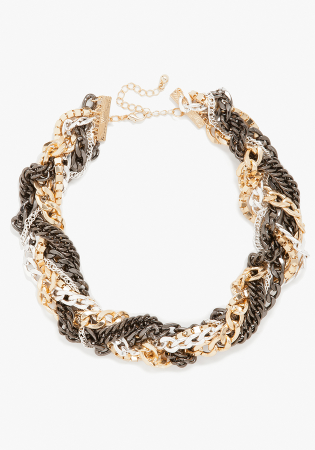 Bebe Braided Multi Chain Necklace