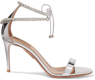 Aquazzura Crillon Crystal-embellished Mirrored-leather Sandals - Silver