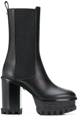 Versace Greca embossed platform boots