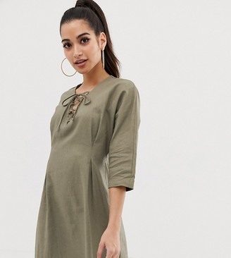 Asos DESIGN Petite lace up mini dress in linen