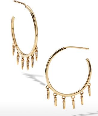 Sydney Evan 14k Medium Diamond Fringe Hoop Earrings
