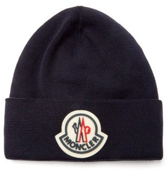Moncler Logo-patch Wool-jersey Beanie Hat - Navy