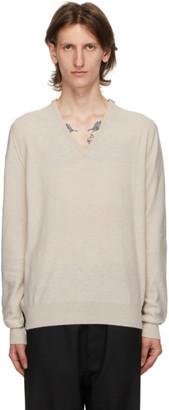 Maison Margiela Beige and Black Gauge 12 V-Neck Sweater