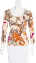 Blumarine Floral Pattern Rib Knit Sweater