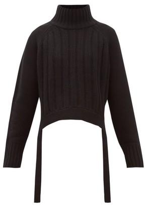 Proenza Schouler Waist Tie Ribbed Wool Blend Sweater - Womens - Black