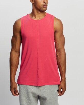 Nike Men's Red Muscle Tops - Dri-FIT Miler Yoga Tank - Size S at The Iconic