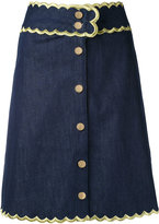 Manoush scalloped trim denim skirt - women - Cotton/Spandex/Elastane - 36