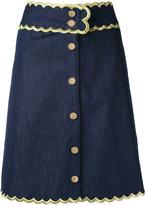 Manoush scalloped trim denim skirt