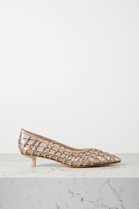 Cult Gaia Kenny Pvc And Knotted Leather Pumps - Sand