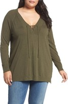 Lucky Brand Plus Size Women's Lace-Up Sweater