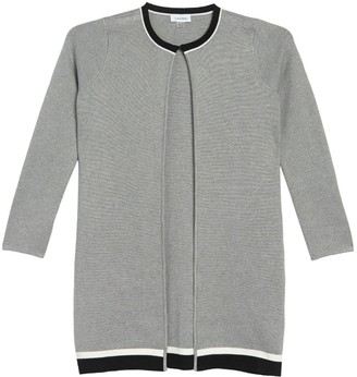 Calvin Klein Striped Open Front Long Cardigan