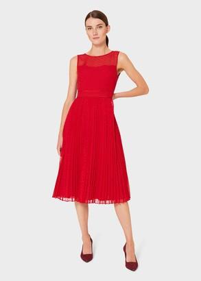 Hobbs Palmer Jacquard Pleated Dress