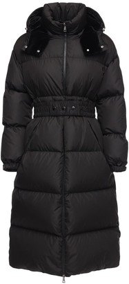 Moncler Tiam Nylon Down Coat W/ Logo Belt