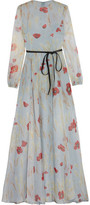 Valentino Belted Floral-Print Silk-Chiffon Gown