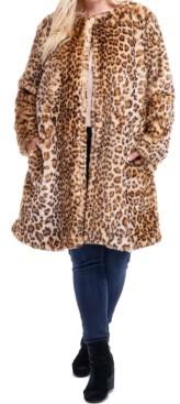 Fever Plus Size Leopard-Print Faux-Fur Coat