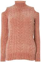 Dorothy Perkins Pink Chenille Cold Shoulder Jumper