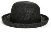 Hinge Women's Straw Bowler Hat - Black