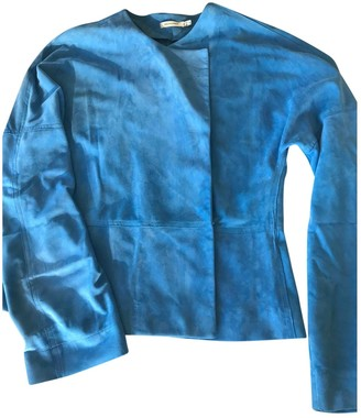 Protagonist Blue Leather Jacket for Women