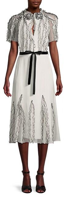 Jason Wu Nano Dot Printed Crinkled Chiffon Dress
