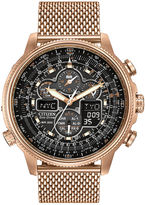 Citizen Eco-Drive Navihawk A-T Mens Rose-Tone Stainless Steel Chronograph Watch JY8033-51E