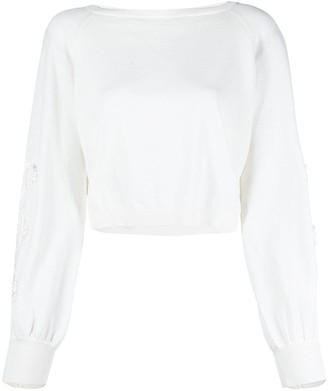 Ermanno Ermanno Knitted Lace-Sleeve Jumper