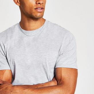 River Island Grey slim fit crew neck T-shirt