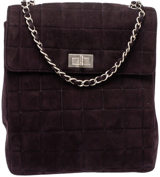 Chanel Dark Plum Chocolate Bar Quilted Suede Vintage Multipocket Flap Bag