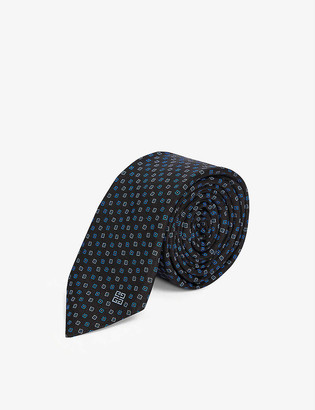 Givenchy Logo-embroidered micro-jacquard silk tie